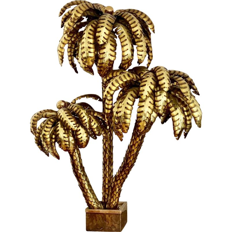 Vintage Giant Palm Tree Floor Lamp by Maison Jansen France 1970