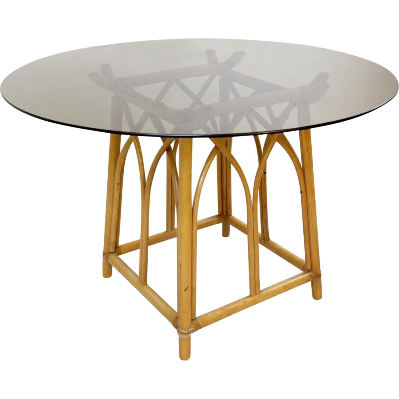 Vintage Round Bamboo Dining Room Table with Smoked Glass Top, 1970s