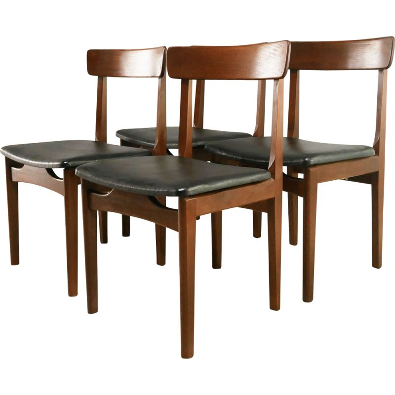 Set of 4 mid century dining chairs 1970s