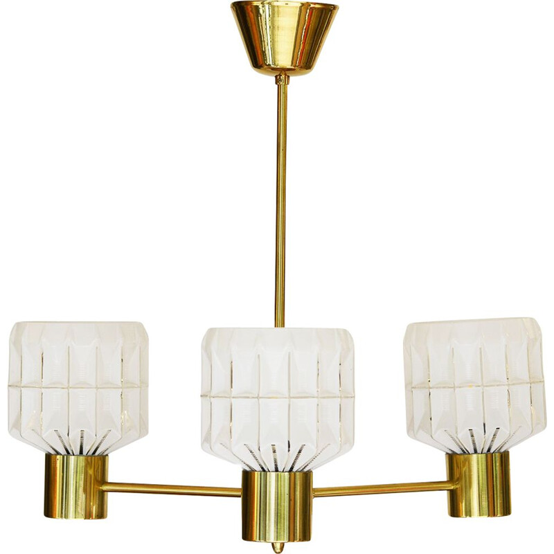 Vintage arm brass chandelier with glass shades Sweden 1960s