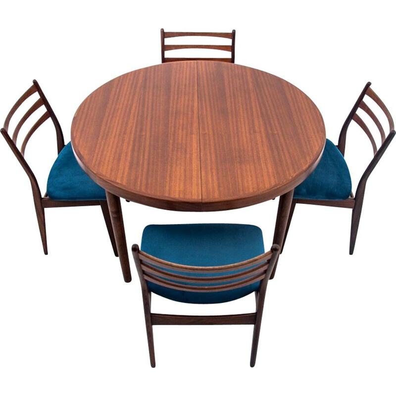 Set of 4 Vintage Dining table with 4 chair, Danish 1960s