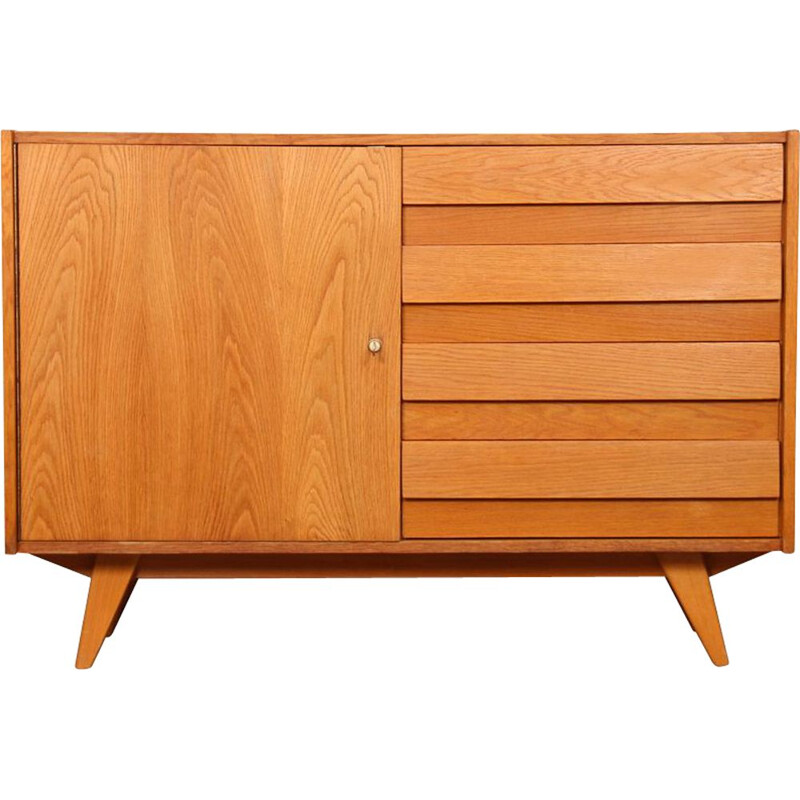Vintage wooden chest of drawers model U-458 by Jiri Jiroutek Czech Republic 1960