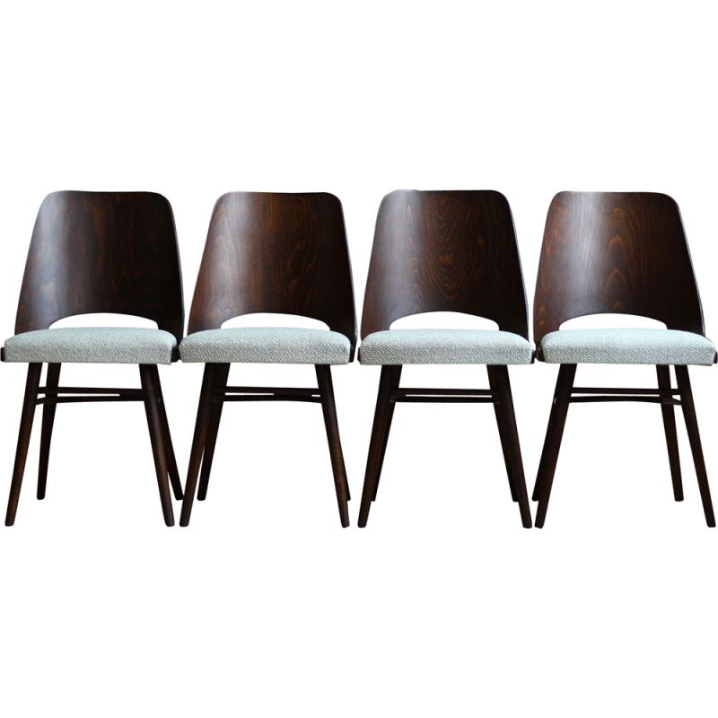 Set of 4 Dining Chairs vintage by R. Hofman for TON, Model 514, New Sahco 1960s