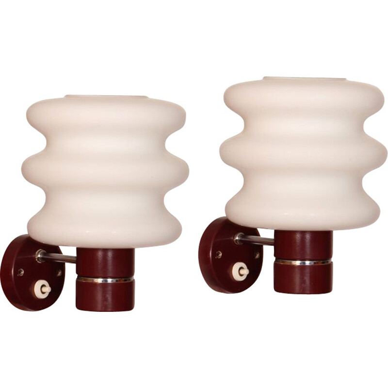 Pair of vintage glass sconces by Napako, 1970