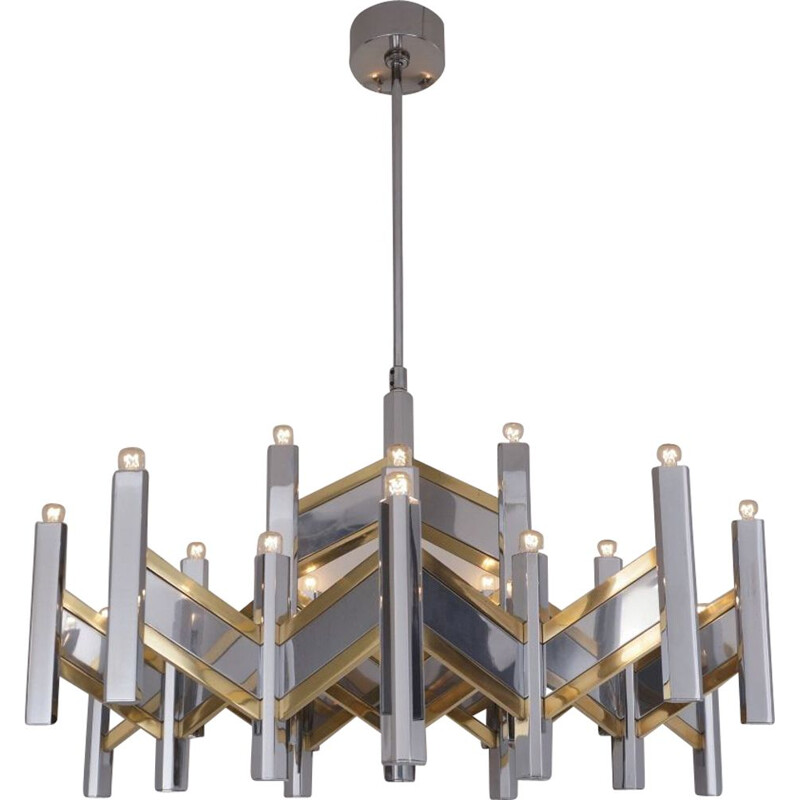 Vintage Sciolari chandelier 'Chevron' large 21 lights brass & chrome Italian 1970s