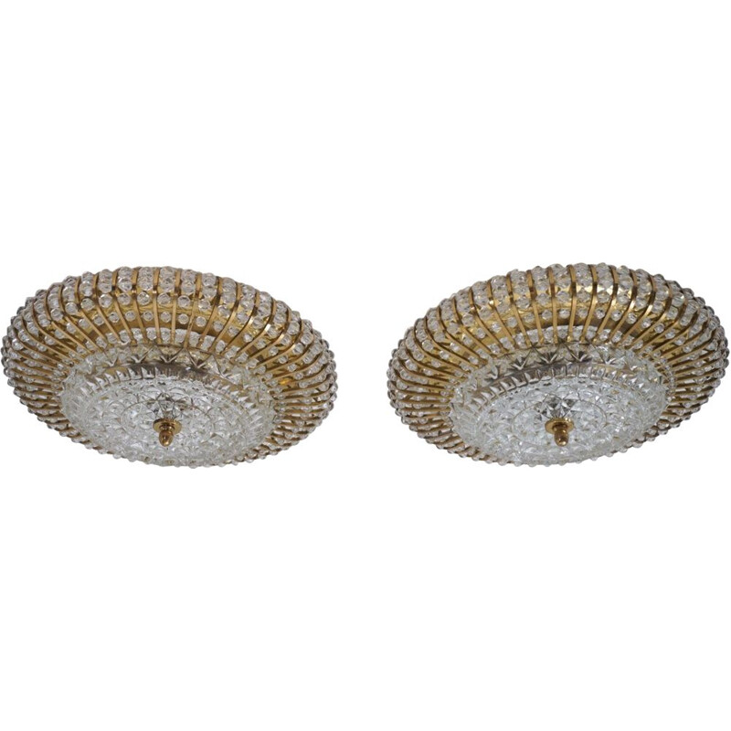 Pair of vintage ceiling lights in brass, glass and pearls, Lucite de Hillebrand, Germany 1960
