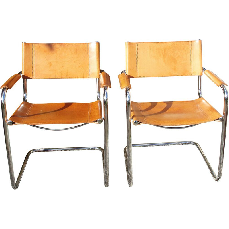 Pair of vintage armchairs in tawny leather and chrome by Mattéo Grassi 1970