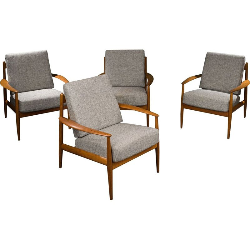 Set of 4 vintage teak lounge armchairs by Grete Jalk for France & Søn, Denmark 1960