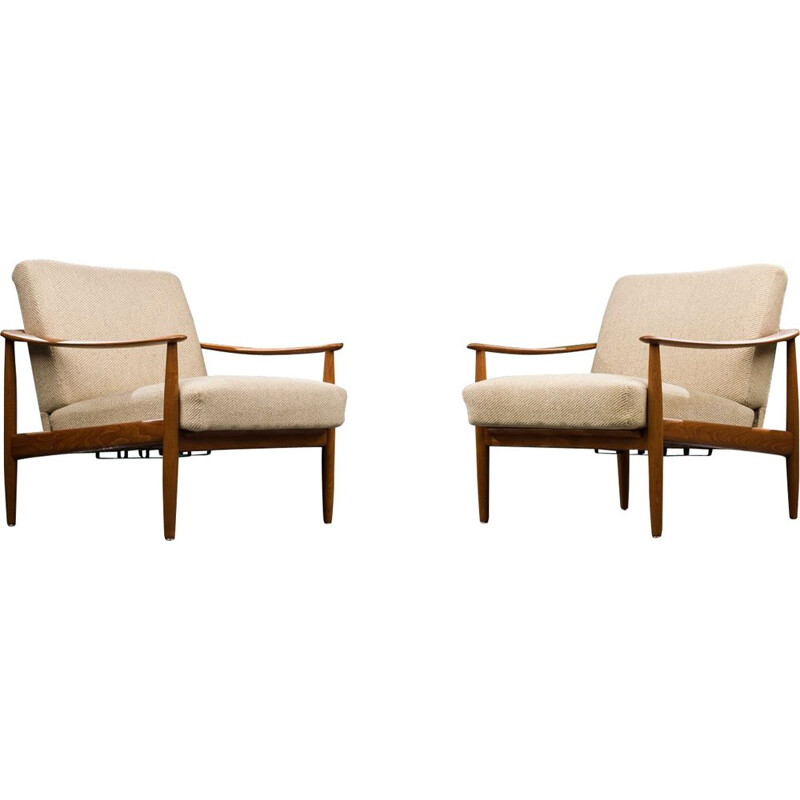 Pair of vintage teak armchairs Antimott for Walter Knoll, 1960