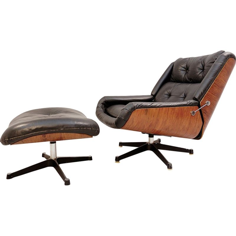 Vintage black leather armchair and pouffe