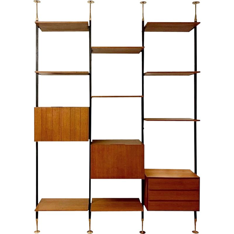 Vintage teak and brass wall unit, Italy 1950