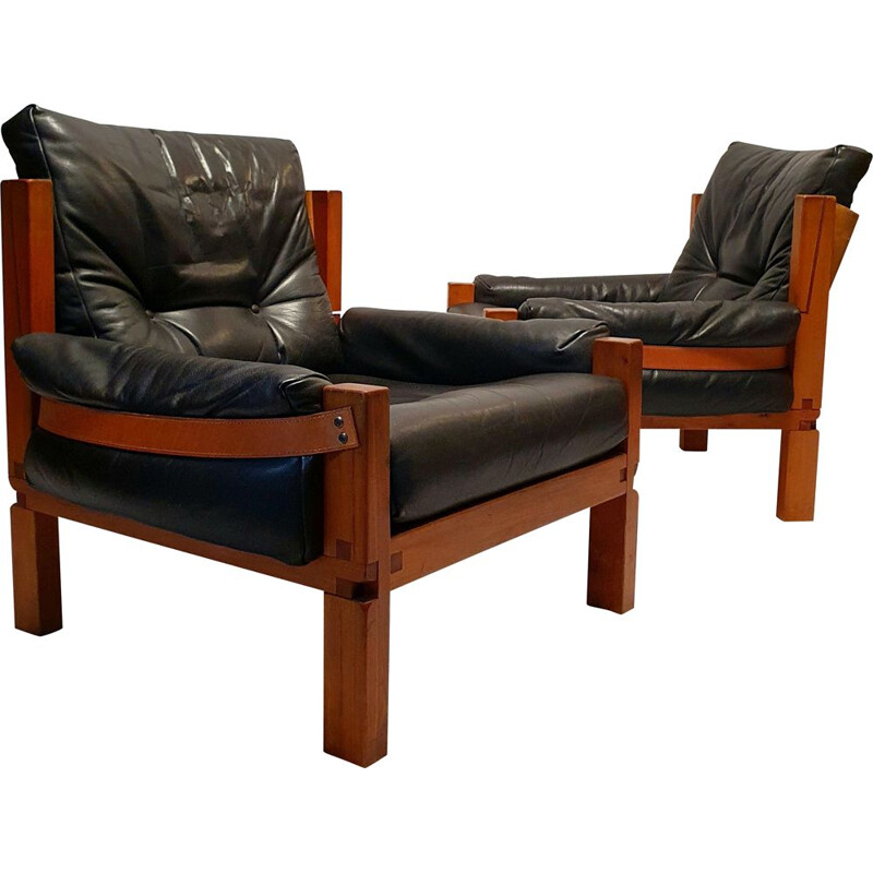Pair of vintage S15 Brutalist armchairs in elm and leather by Pierre Chapo 1960