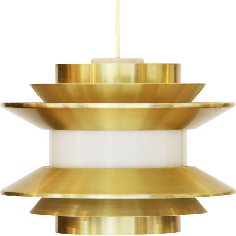 Vintage gold aluminium Trava pendant lamp by Carl Thore for Granhaga Metallindustri, Sweden 1970