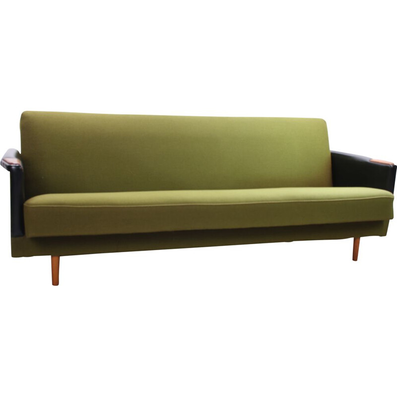 Vintage green sofa bed, Scandinavia 1960