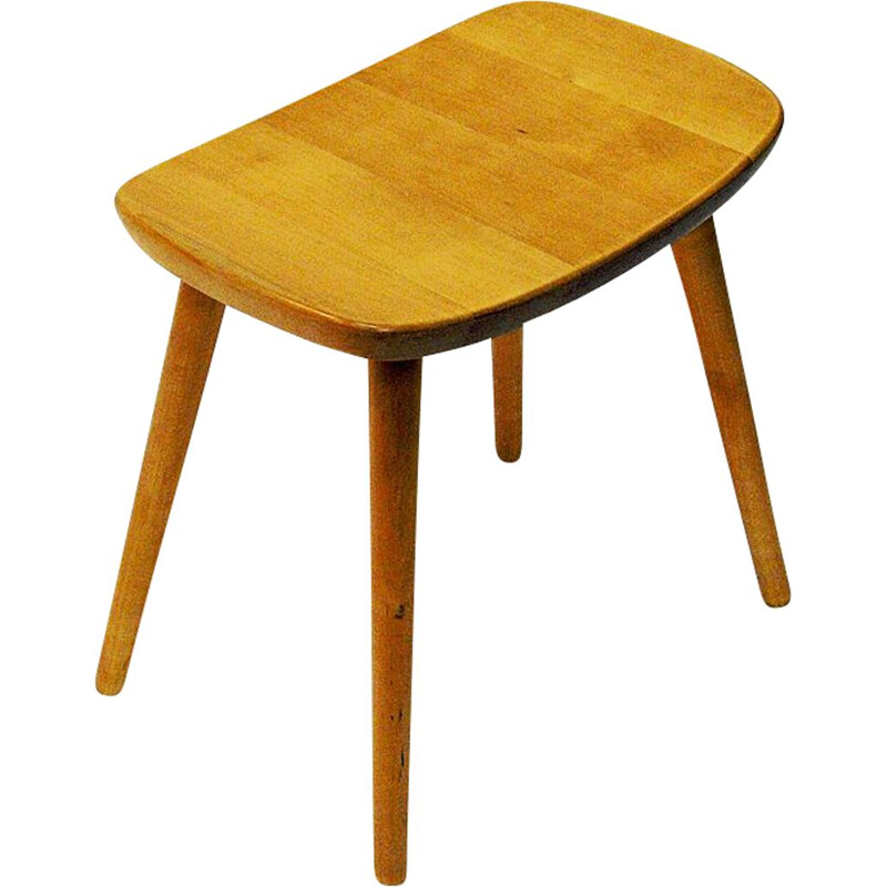 Vintage birch stool Palle by Yngve Ekström for Stolab, Sweden 1950