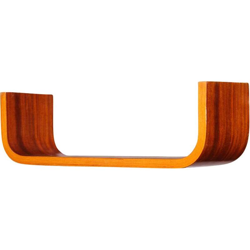Vintage mahogany wall shelf by Ludvik Volak for Drevopodnik Holesov, 1960