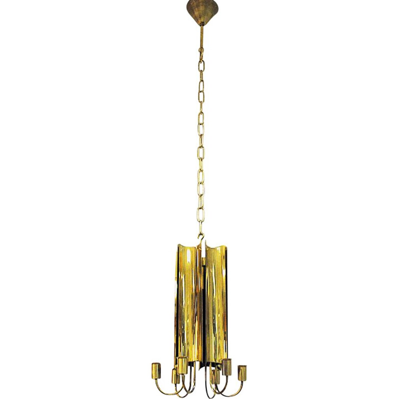 Vintage brass pendant lamp from Pierre Forsell for Skultuna, Sweden 1960