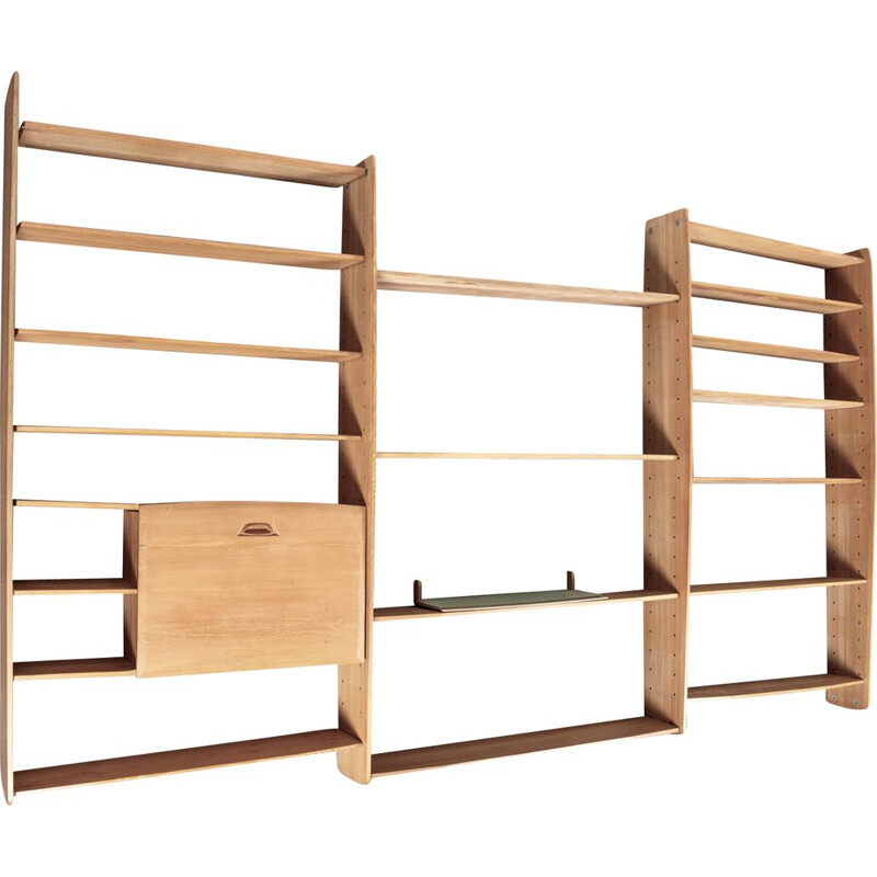 Large oak modular vintage shelf 1950's