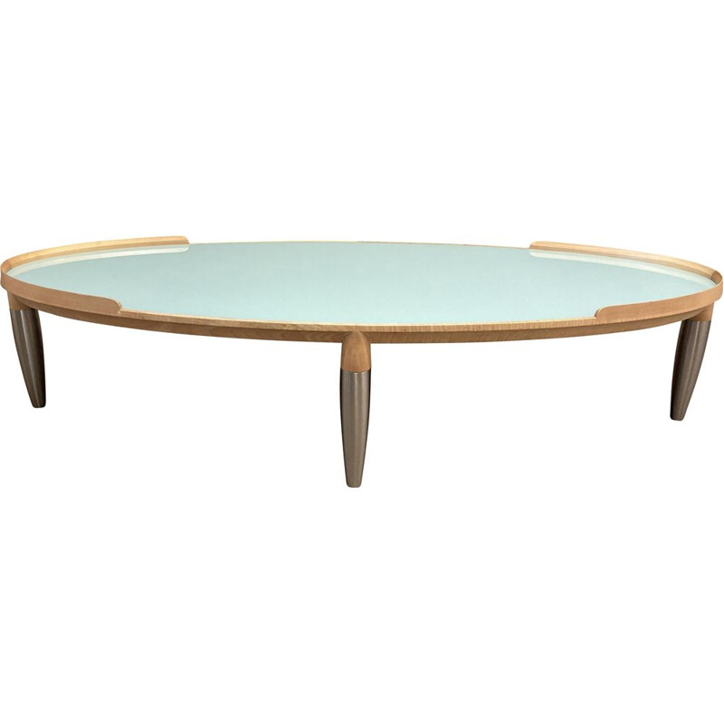 Vintage coffee table in beech, metal and glass, Scandinavia