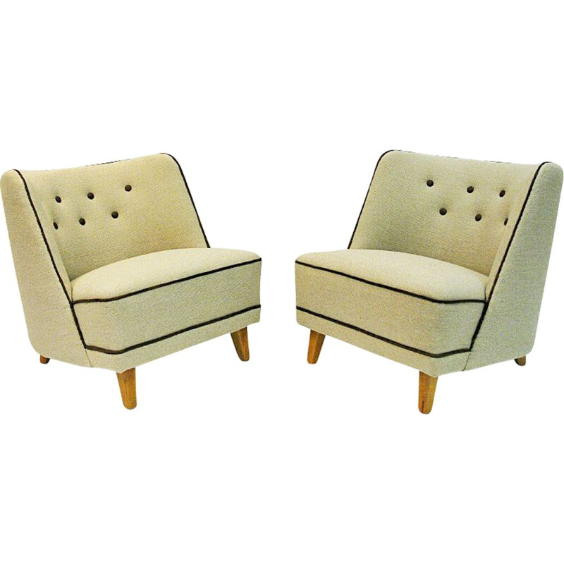 Pair of Easy vintage armchairs by Møller & Stokke, Norway 1940