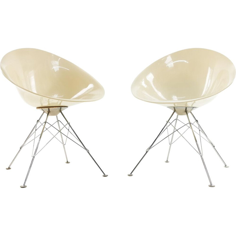 Vintage Eros armchairs in cream lucite and chromed thread by Philippe Starck for Kartell 1980