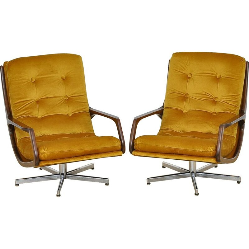 Pair of vintage velvet swivel armchairs 1960's