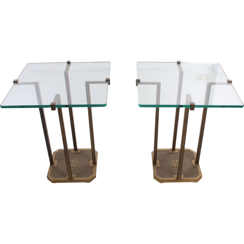 Pair of vintage side tables model T18 by Peter Ghyzcy