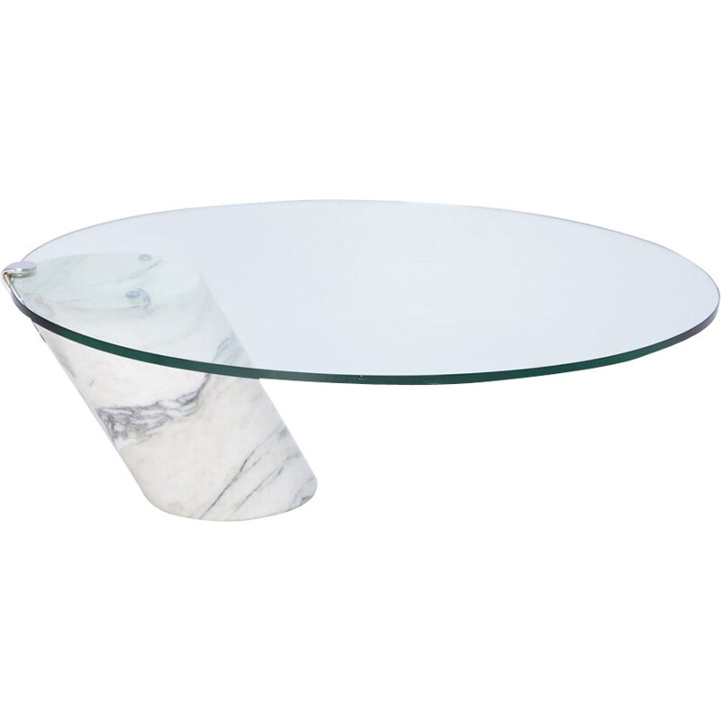 Vintage white marble and glass coffee table model K1000 by Ronald Schmitt