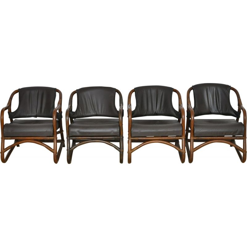 Set of 4 vintage bamboo armchairs with leather seat 1970