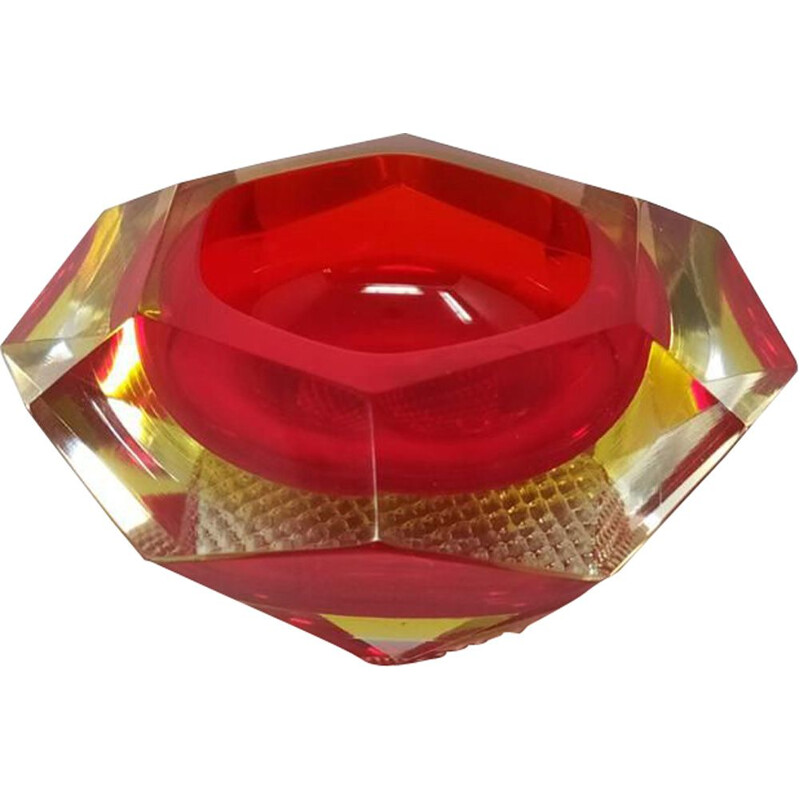 Vintage red ashtray from Flavio Poli for Seguso 1960