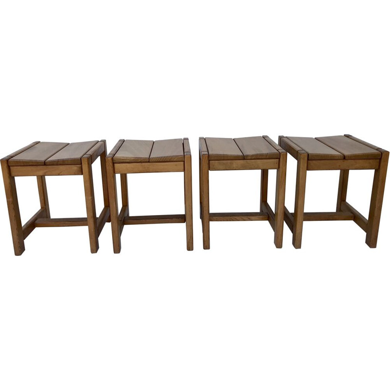 Set of 4 vintage solid elm stools, France 1970