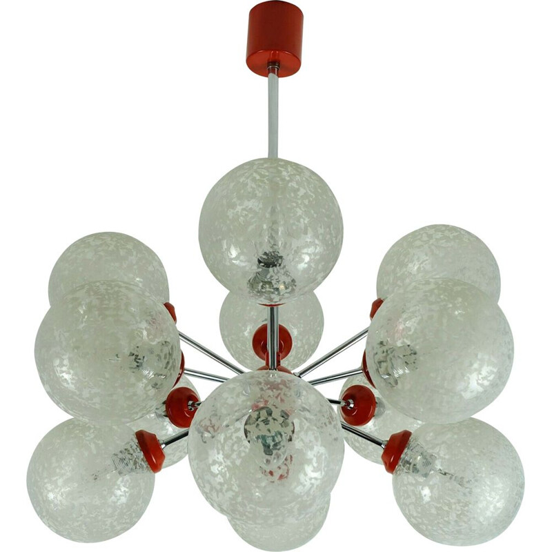 Vintage Sputnik chandelier in chrome, glass and red metal by Richard Essig 1960
