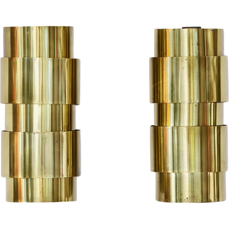 Pair of vintage brass sconces by Hans-Agne Jakobsson for H-A Jakobson Markary AB, Sweden 1960