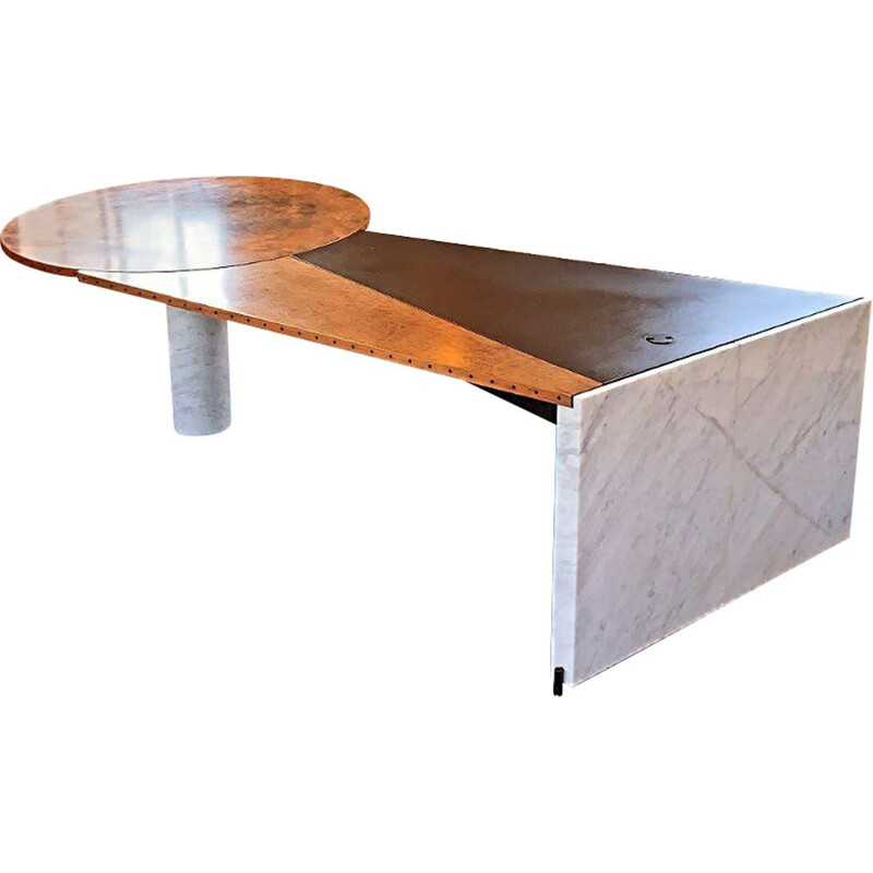 Vintage Postmodern  Carrara Marble & Burl Wood Writing Desk Italian1980s