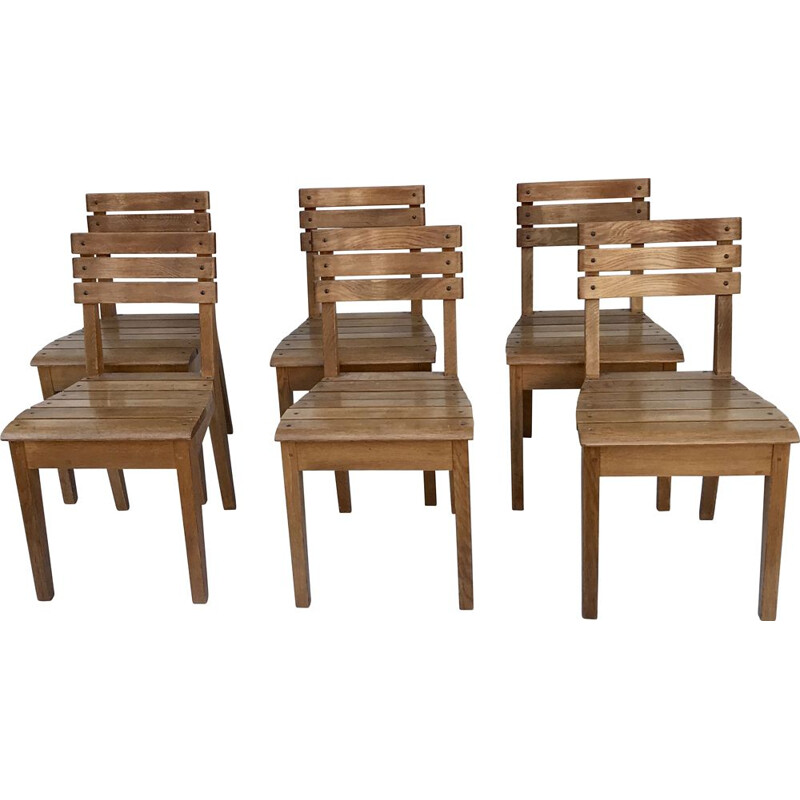 Suite of 6 vintage oak chairs by Charles Dudouyt for La Gentilhommière, France 1960