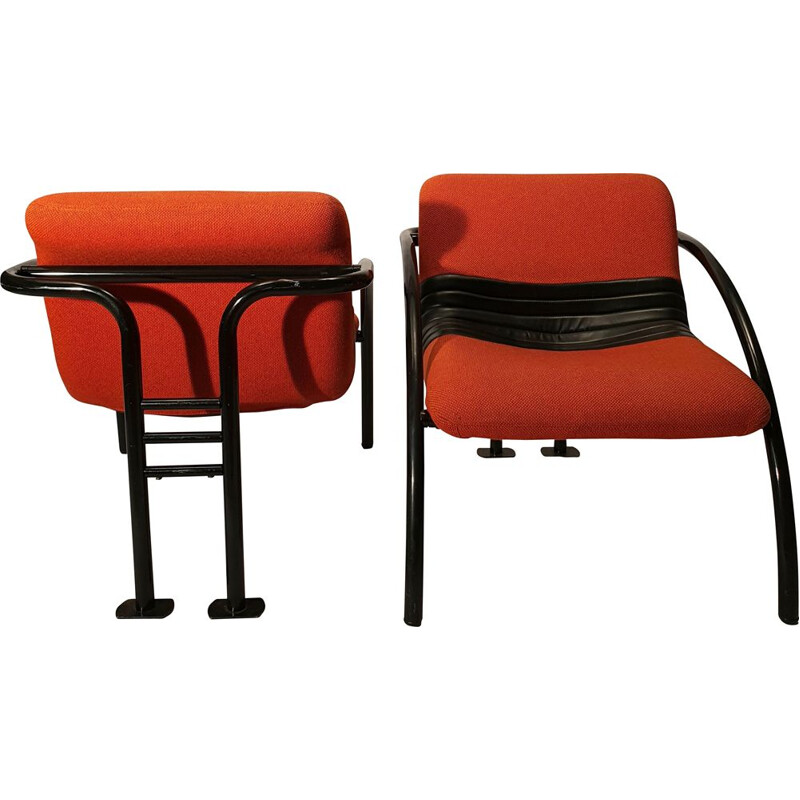 Pair Of Vintage Airborne Metal 1980 Armchairs