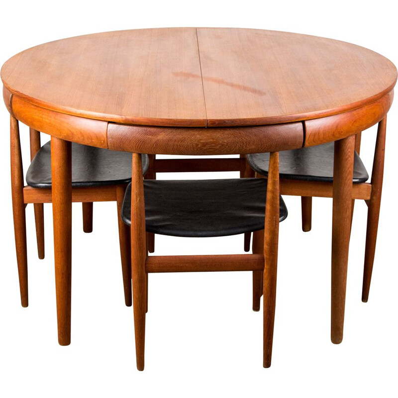 Vintage teak dining table and 4 chairs set model 63031 by Hans Olsen for Frem Rojle Danes 1964