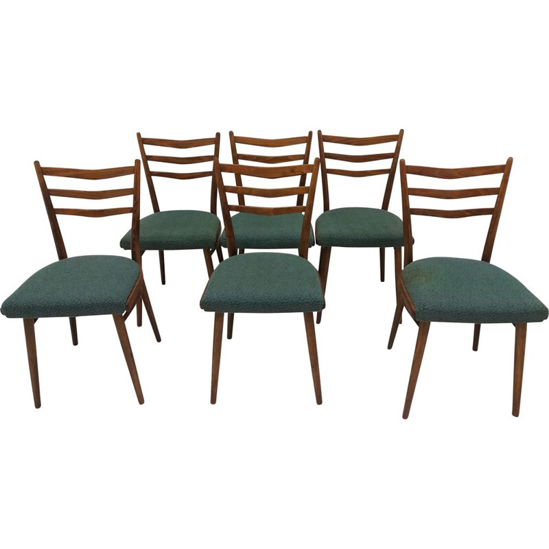 Set of 6 vintage dining chairs designed by Jindřich Halabala for UP Závody, Czechoslovakia 1960