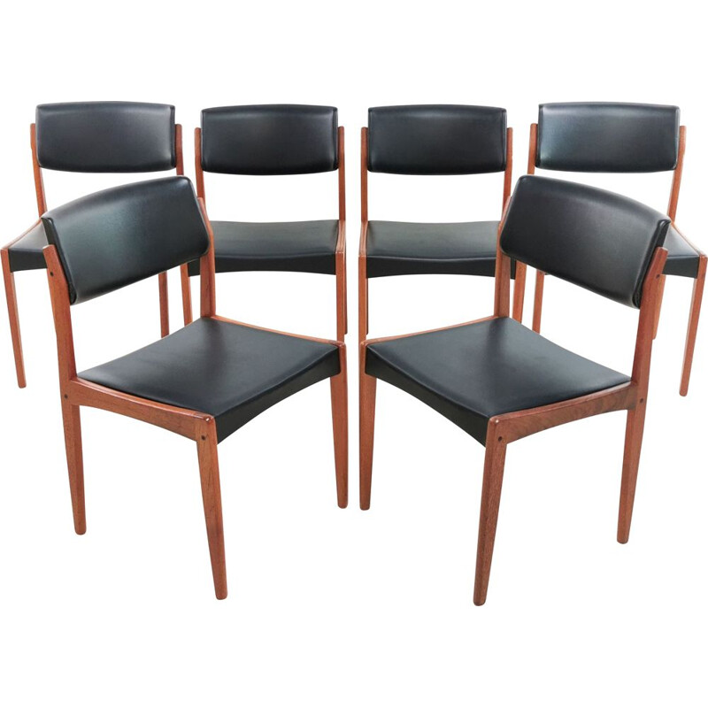 set of 6 Vintage Teak & Vinyl Mid Century Dining Chairs by Bramin Danish 1960s