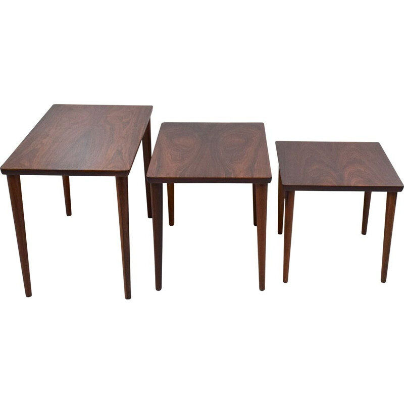 Vintage nesting tables in rosewood from Rio, Scandinavia