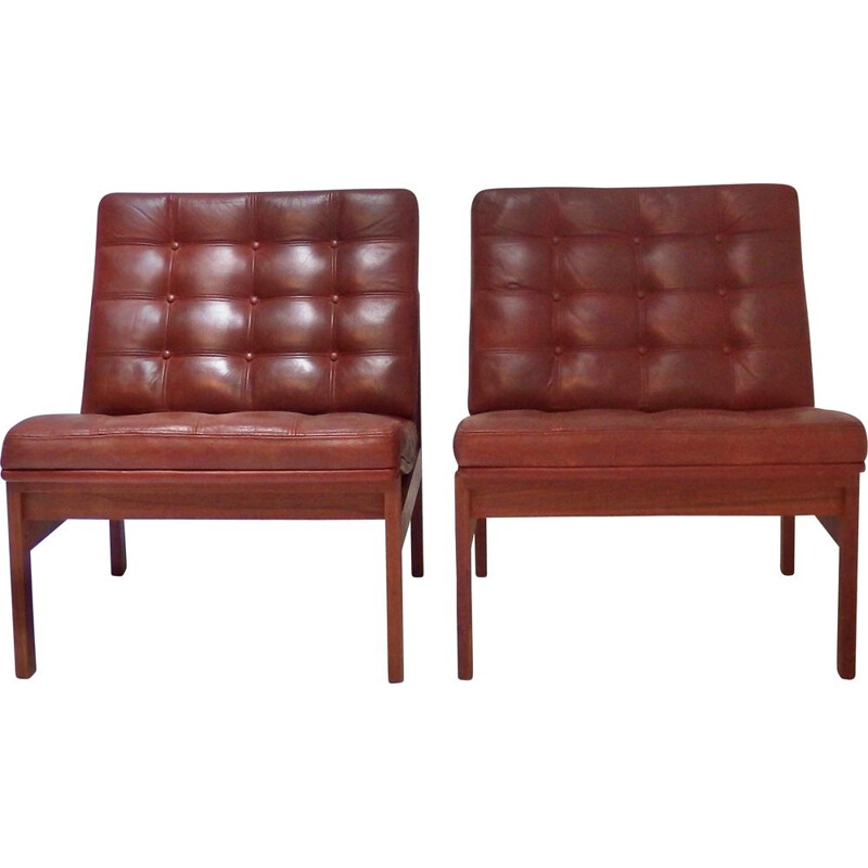 Pair of vintage armchairs by Ole Gjerlovs Knudsen and Torben Lind for France and SØn 1960