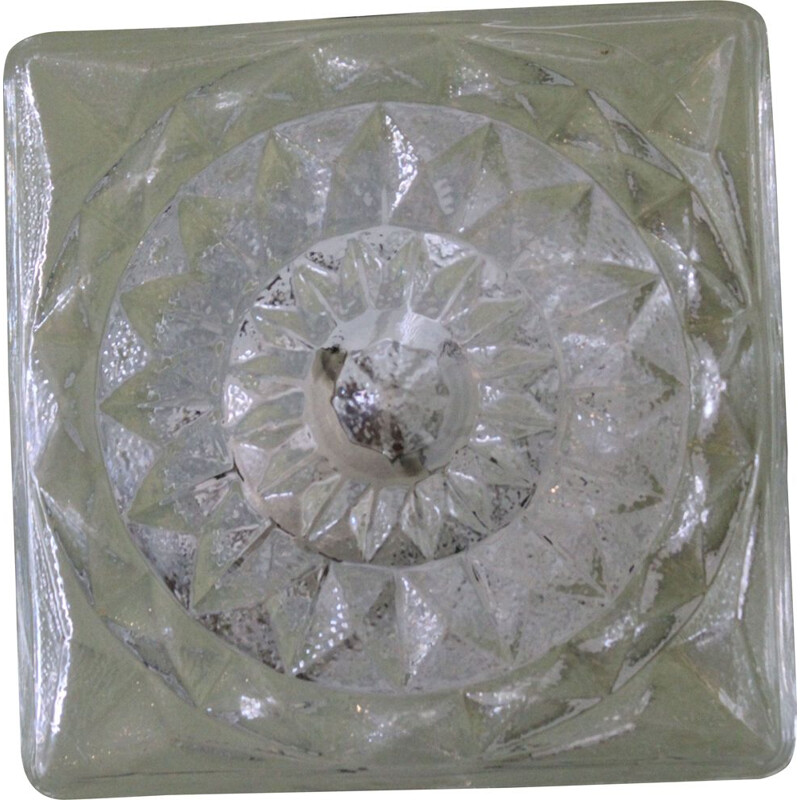 Vintage glass ceiling or wall lamp, Italy, 1970s