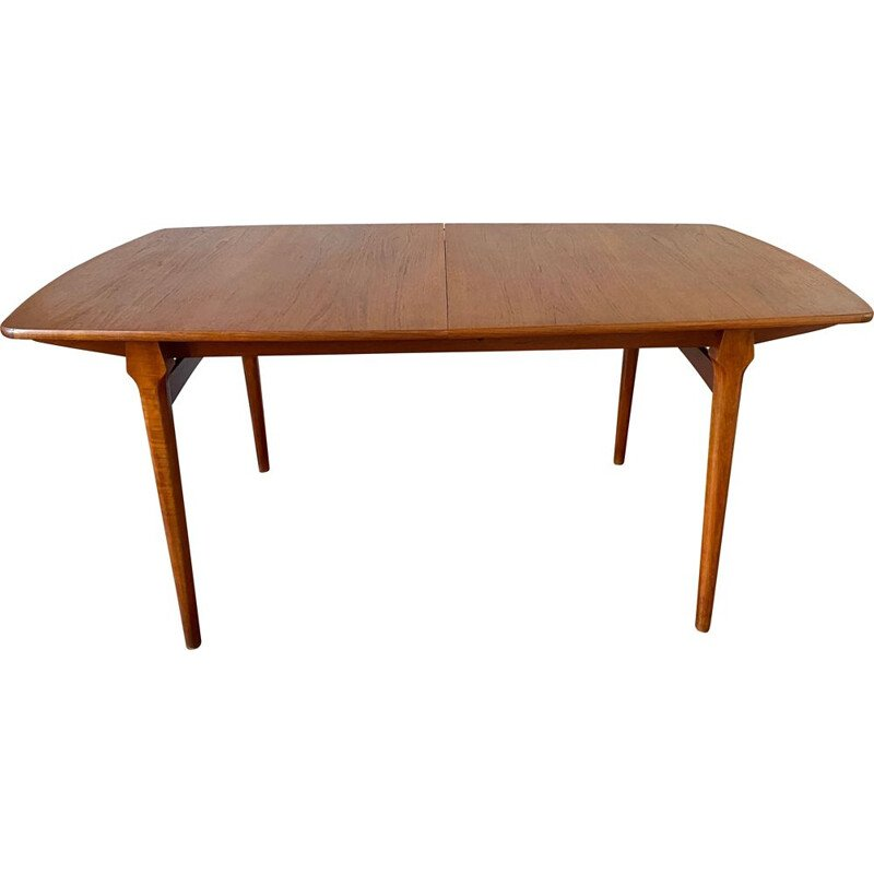 Vintage solid teak extensible dining table 2 extensions 1960