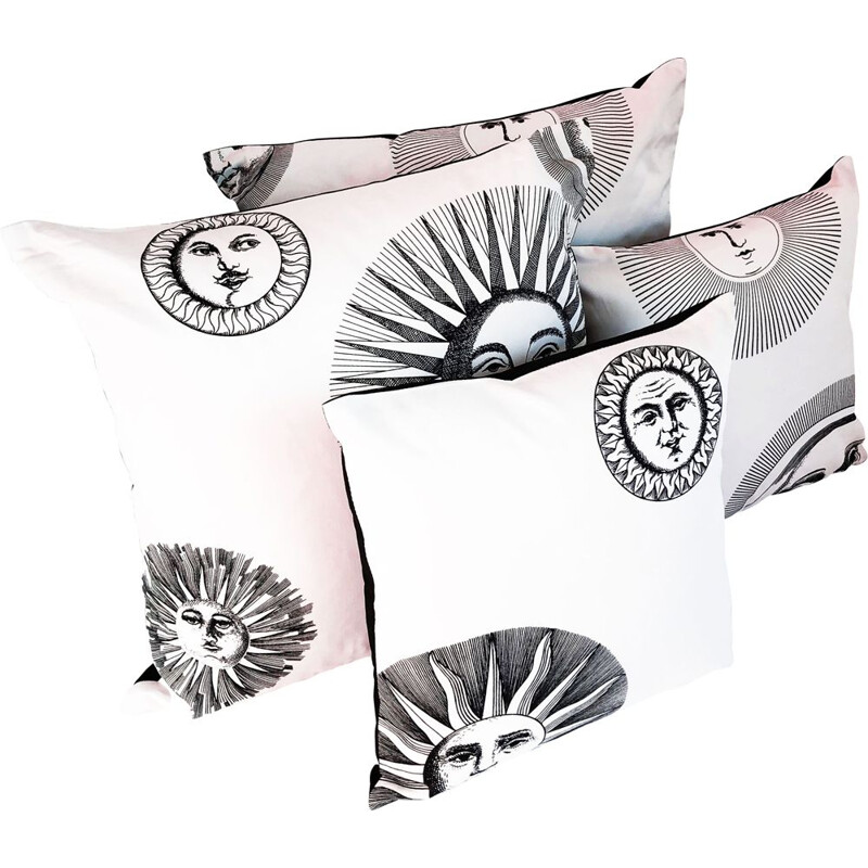 Set of 4 vintage cushion covers Pietro Fornasetti 1980