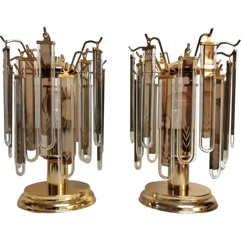 Pair of vintage cristal table lamps 1980s