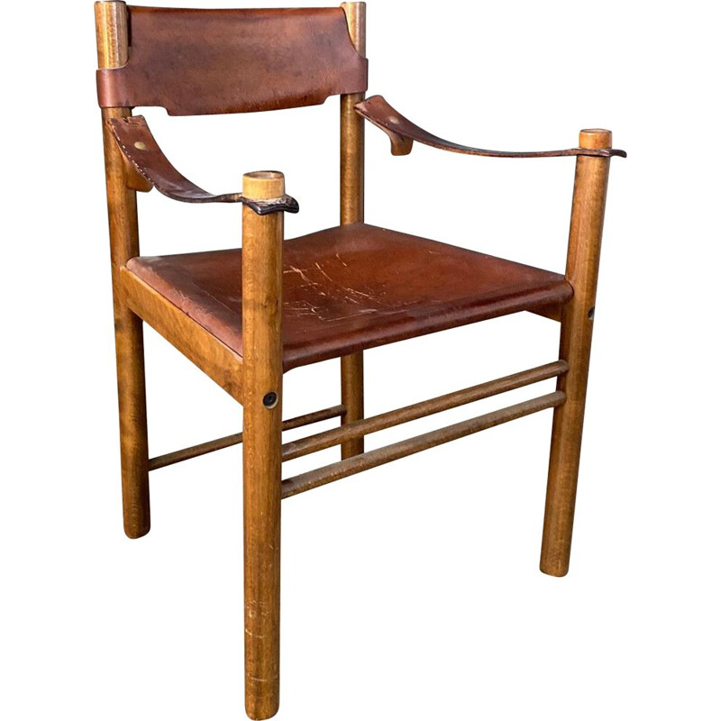 Vintage armchair 'ibisco' in wood and leather Italy 1960