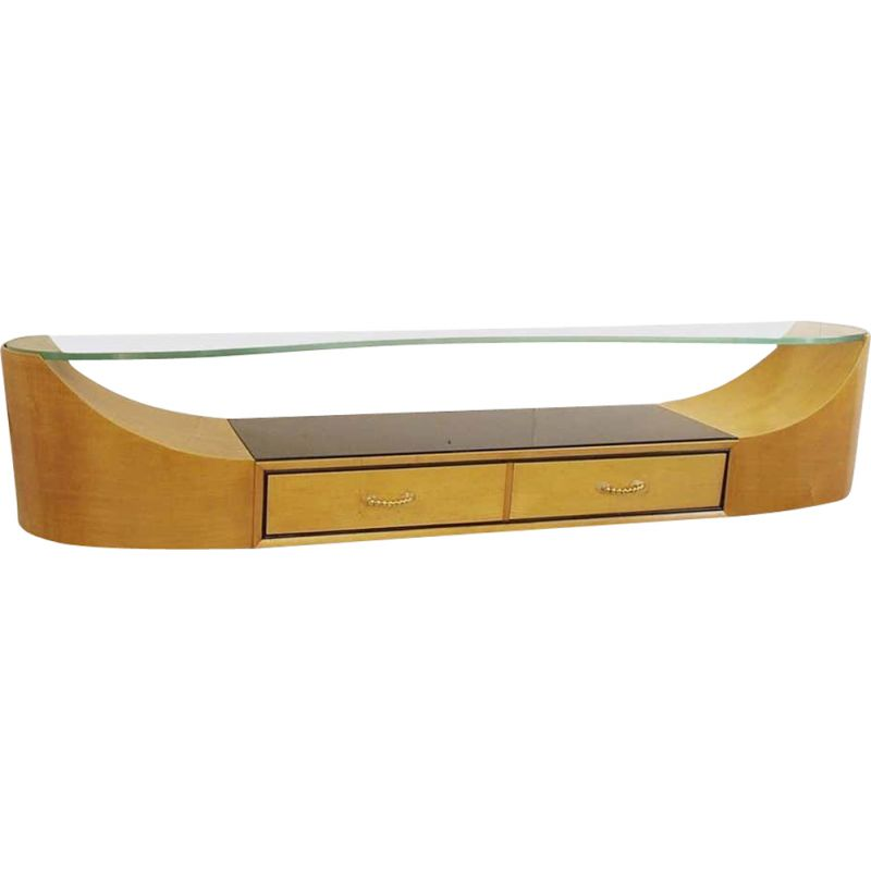 Vintage wall console with Art Deco glass top