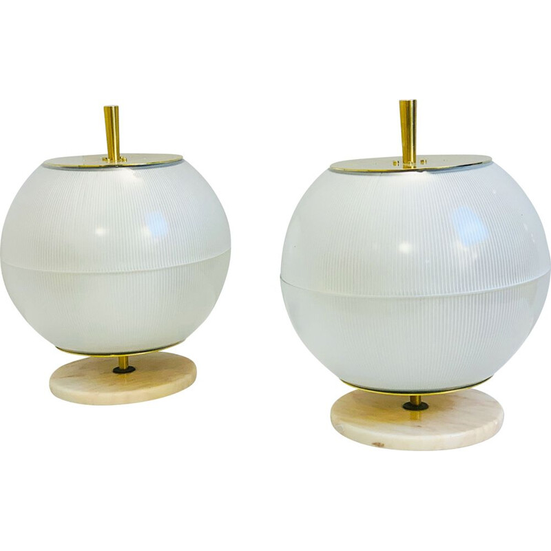 Pair of vintage brass and marble lamps from Galassia, Italy 1964