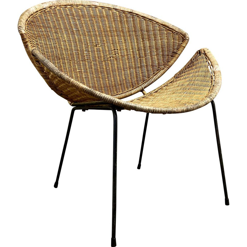 Vintage wicker armchair 1950