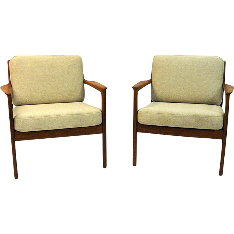 Pair of vintage teak armchairs model USA 75 by Folke Ohlsson for DUX, Sweden 1960